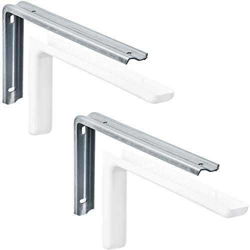 Gedotec Consola Soporte metálico para montaje en pared - LEON | Ángulo de soporte del estante con profundidad: 12 cm | Capacidad de carga hasta 20 kg | incl. material de fijación - 2 piezas