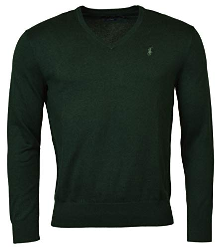 Ralph Lauren Pullover Polo Baumwolle Pima Rundhalsausschnitt V-Ausschnitt klein, Grün Large