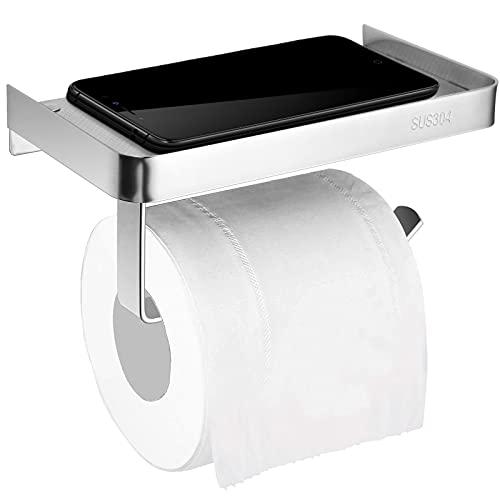 Portarrollos de Papel Higiénico, JiGiU Soporte para Papel Higiénico con el Teléfono Móvil Estante, Autoadhesivo Montado y perforación Montada Impermeable Acero Inoxidable 304 para Baño Cocina