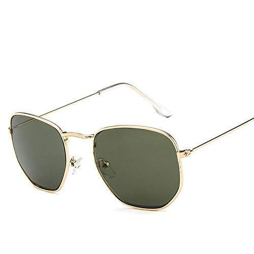 Gafas De Sol Polarizadas Polygon Clear Square Gafas De Sol Mujer Moda Diseño De Marca Lady Vintage Metal Marco Pequeño Gafas De Sol Lisas Uv400 Verde