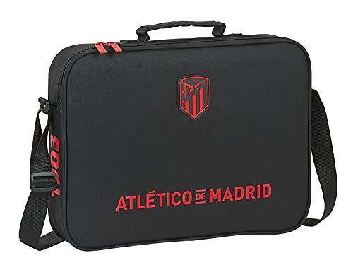 Safta Cartera Extraescolares de Atlético de Madrid Corporativa, 380x60x280 mm, Negro