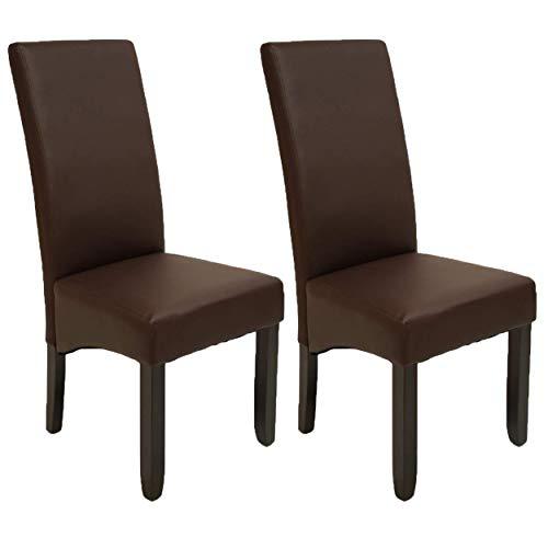 Pack de 2 sillas Osaka Color wengué de salón Comedor de Polipiel marrón y Acolchadas. Nuevo Modelo, Modernas, económicas. Altura 108cm / Asiento 49x49cm