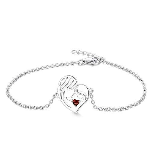 YL Pulsera Madre e Hija Plata de Ley 925 Pulsera de Corazón de Granate Cortada para Mamá Mujer, Cadena 18-20CM