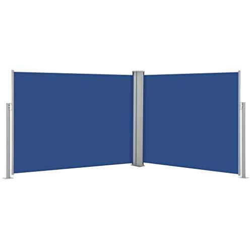 Festnight Windscherm uittrekbaar Zijluifel voor balkon en terras Privacybescherming Zonnescherm Zijgordijn 140x1000 cm blauw