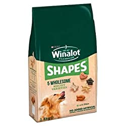 perfect as a healthy snack for well behaved dogs enriched with vitamins to help support good health and energy levels, with iron to help support vitality and omega 3 & 6 to help maintain healthy skin & glossy coat. winalot shapes dog treats contain a...