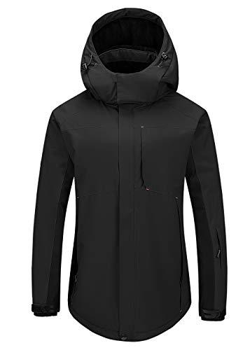 Cycorld Damen-Skijacke-Outdoorjacke, Winddicht Wasserdichte Wanderjacke Warm Fleece Snowboardjacke Softshell Regenjacke (XL, Schwarz)