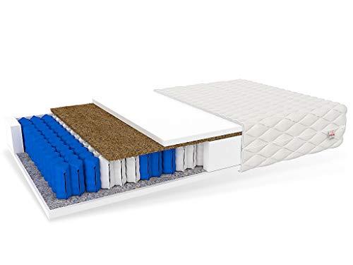 FDM Vitoria Taschenfederkernmatratze 7 Zonen Matratze Kokos Polyurethanschaum Härtegrade H4/H3 (hart/mittelhart) Höhe 18 cm Zweiseitig Abnehmbarer Bezug waschbar (90 x 200 cm)