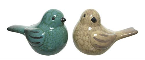 Kaemingk Set of 2 Decorative Glazed Pottery GARDEN BIRD Ornaments - Aqua Green, Cream - 9cm