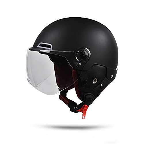 BOSERMEM Motorradhelm Mit Schutzbrille, Jethelm Roller-Helm Scooter-Helm Moped Mofa-Helm Chopper Vintage, Hat Den Verkehrssicherheitstest Bestanden(Matt-schwarz, Transparente Linse)