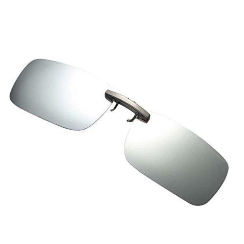 harayaa Gafas de Sol para Pesca, Polarizadas con Visión Nocturna, Lentes Abatibles con Clip - plata blanca, como se describe