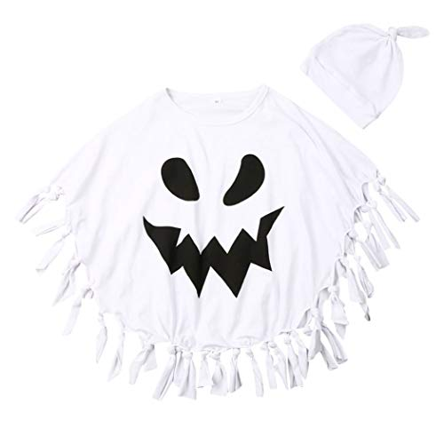 Kids Baby Boy Girl Halloween Costume Cloak with Tassel + Beanie Hat (4-5 Years, White)