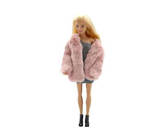 AAGOOD Capa De La Manera Felpa Capa Rompevientos Ropa Casual Traje Accesorios para La Muñeca Barbie Muñeca 29cm Rosada del Juguete Suministro De Regalos