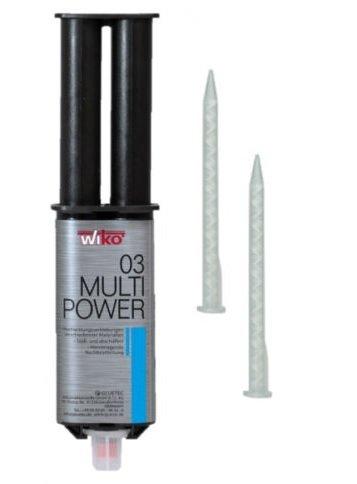 WIKO Multipower 2K Klebstoff Hochleistungs-Kleber + 2 Mischdüsen 1 Stück 25ml