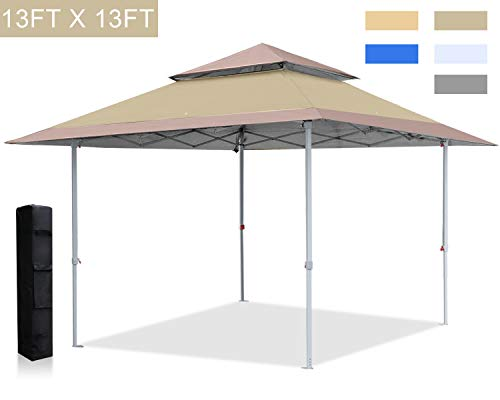 ABCCANOPY 13x13 Canopy Tent Instant Shelter Pop Up Canopy 169 sq.ft Outdoor Sun Shade, Khaki