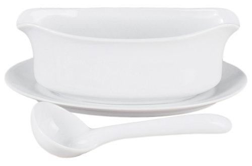 HIC Gravy Sauce Boat with Attached Saucer and 1-Ounce Serving Ladle, Fine Porcelain, White, 18-Ounce Capacity