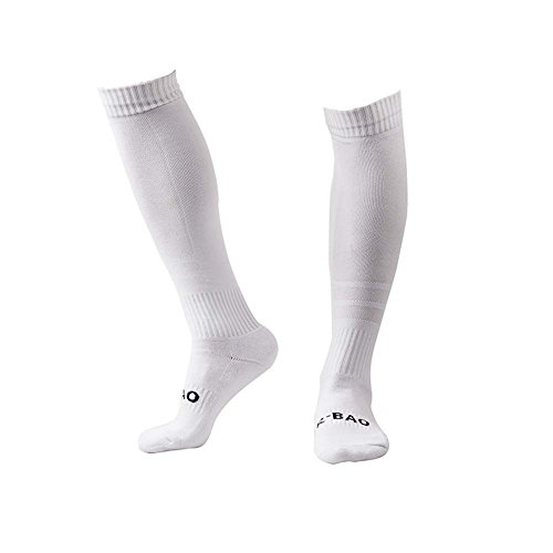 Men's Sports Athletic Compression Football Soccer Socks Over Knee High Socks (White)
