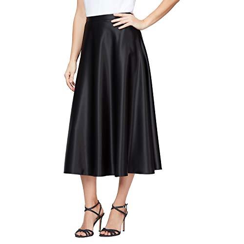 Alex Evenings Women's Tea Length Dress Skirt (Petite Regular Plus Sizes), Black Satin, L