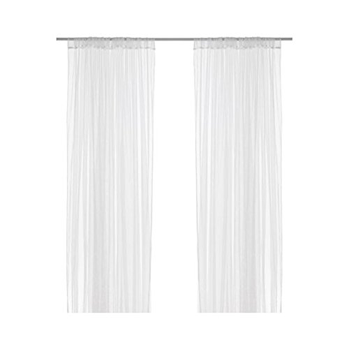 IKEA Home Living Room Decor Lill Lace Curtains, 1 Pair, White