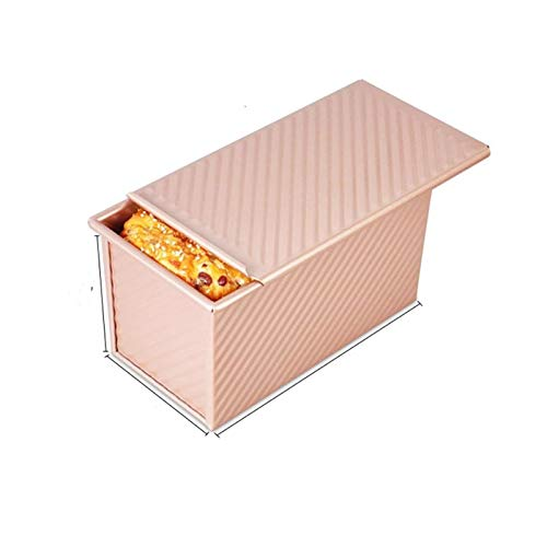 DSJTCH Loaf Pan with Lid Non-Stick Bakeware Bread Toast Gold Mold Aluminum Alloy Corrugated Cake Kitchen Tools Delicious (Color : Light Grey)