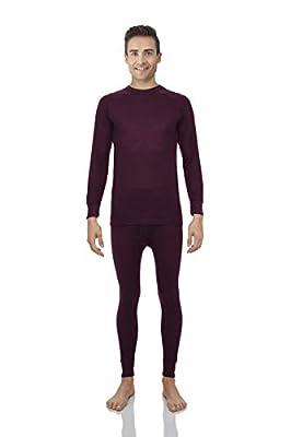 Rocky Thermal Underwear for Men Waffle Knite Thermals Men's Base Layer Long John Set [Burgundy Set (Waffle) - Medium]