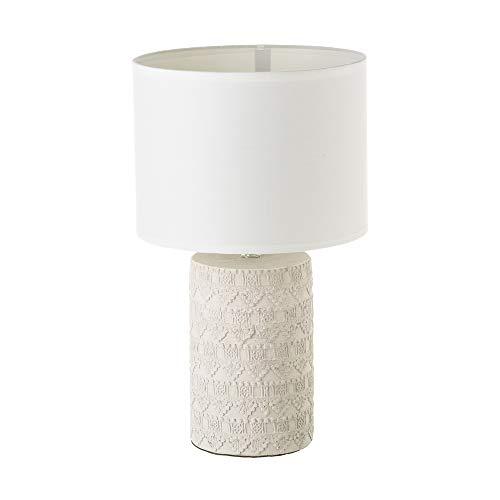 Lámpara de mesita de noche grabada shabby chic de cemento beige de Ø 24x41 cm - LOLAhome