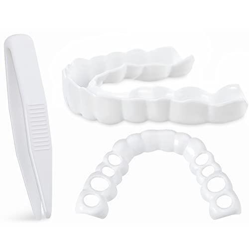 2 Piezas Dentaduras Postizas Instantáneas Dientes Falsos Dentadura Serrada de Sonrisa con Mini Pinzas para Hombres y Mujeres