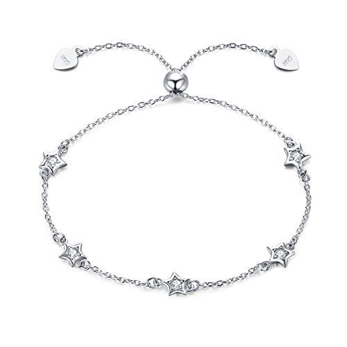 Stars Bracelet for Women 925 Sterling Silver Adjustable Stars Bracelet...