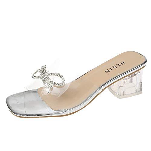 Damen Sandalen Sandalette mit Strass Hausschuhe Pumps Slingback Peep Toe Slip On Pumps High Heels Sommer Outdoor Sandals Freizeitschuhe(1-Silber/Silver,39)