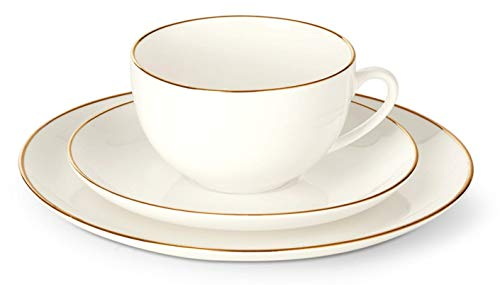 Kaffeeservice echt Gold Rand 18-teilig Bone China Optik