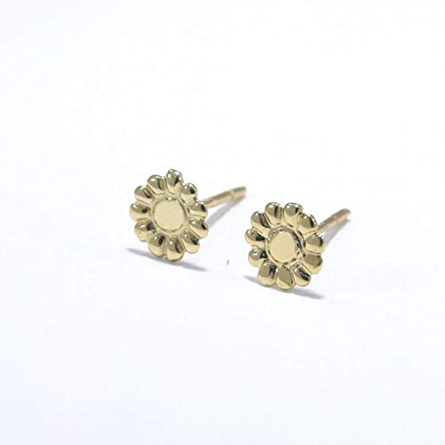 14K Gold Flower Stud Earrings - 14K Solid Yellow Gold Flowers Studs, Tiny Handmade Dainty Jewelry, Floral Pushback Gold Closure Earrings, Simple Handmade Minimalist Delicate Birthday Gift for Women 14k Gold Hawaiian Flower