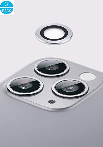 WEOFUN Kamera Panzerglas Schutzfolie für iPhone 11 Pro/iPhone 11 Pro Max Kamera Linse Metall Schutzfolie [3 Stück], [ 360 Grad Full Coverage, 9H Härte, Anti-Kratzer, Hochauflösend ] - Silber