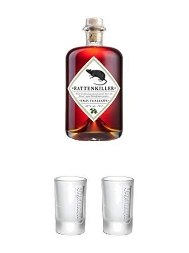 Rattenkiller Kräuterlikör 0,7 Liter + Jägermeister Frozen Club Shot Glas 2 cl 1 Stück + Jägermeister Frozen Club Shot Glas 2 cl 1 Stück