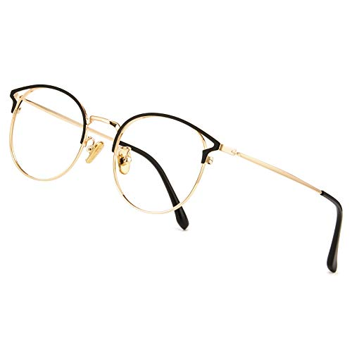 Cyxus Blaulichtfilter Brille Damen mit Katzenauge, Rund Mode Vintage Brille Ohne Stärke, Anti Schädliches Blaulicht UV400 von Handy, Computer, PC(Schwarz Gold)
