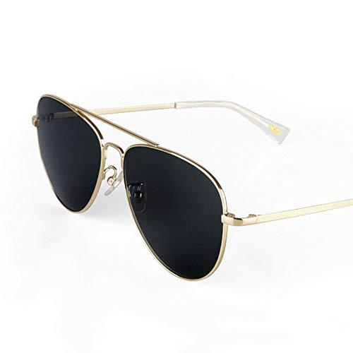 HAOQI Moda Súper Ligero Irrompible Gafas De Sol,Protección UV Antideslumbrantes Polarizadas Aviador Conducir Gafas,Metal Aire Libre Deportes Viajes Fiesta Mujere Gafas-Verde Dorado 14.2x4cm(6x2inch)