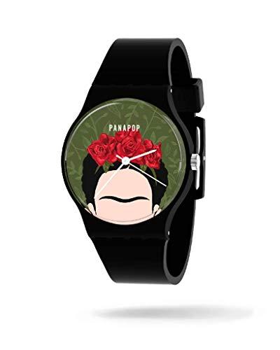 Panapop | VIVA LA VID | Damen-Armbanduhr | Schwarzes Silikon | Frida Kahlo | Offizielles Lizenzprodukt