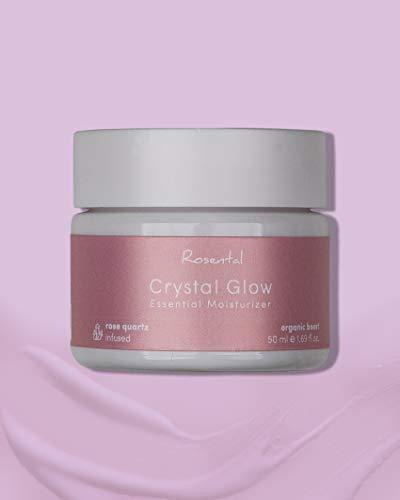 ROSENTAL ORGANICS ® Crystal Glow Essential Moisturizer, Hautpflegecreme (Rosenquarz, Hyaluron & Aloe Vera), Feuchtigkeitspflege, 100% NATÜRLICH, (50ml)