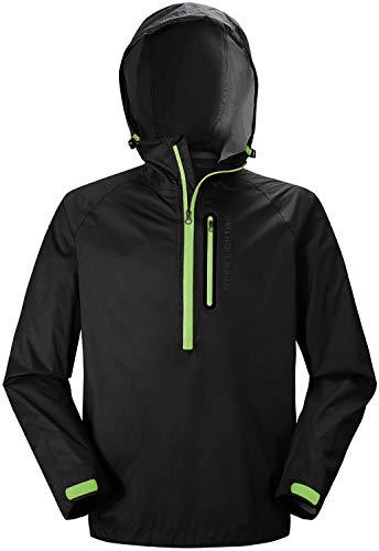 SWISSWELL Men's Rain Jacket Waterproof Windbreaker Lightweight Hooded Raincoat (H-Black Rain Jacket, Medium)