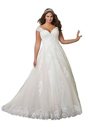 Nanger Damen A Linie Hochzeitskleider Übergröße Lang mit Appliques Brautkleider Große Größe Elfenbein 50