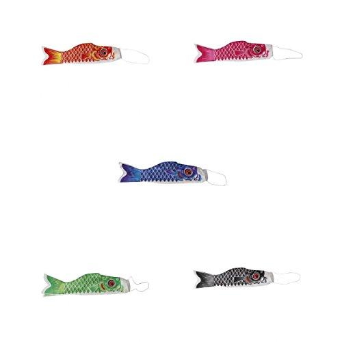 MagiDeal 70cm 5 Piezas Pescados Koinobori Calcetín de Viento Carpa Nobori Koi Decoración Colgante Bandera de Cometa