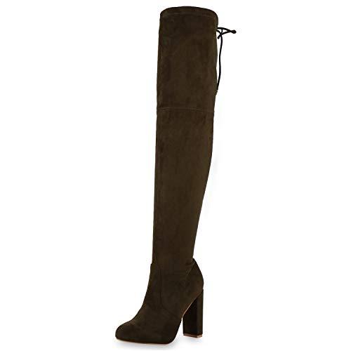 SCARPE VITA Damen Overknees Stiefel High Heel Boots Basic Wildleder-Optik Schuhe Klassische Langschaftstiefel Absatzschuhe 197151 Olivgrün 39