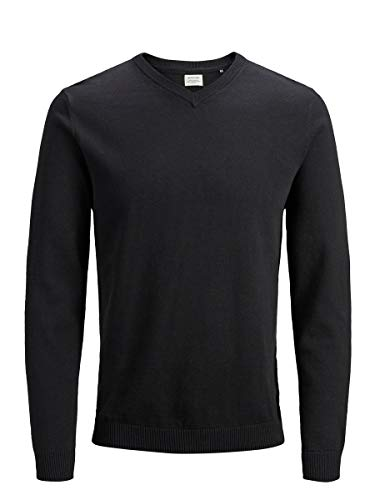 JACK & JONES Herren JJEBASIC Knit V-Neck NOOS Pullover, Schwarz (Black Black), Large
