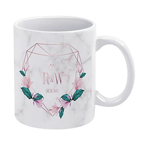Taza de café divertida, de 325 ml, diseño de monograma de boda, diseño de logotipo, de acuarela, marco floral, taza de café divertida, taza de café para hombres y mujeres, regalo del día del p