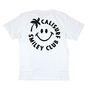 Cali Surf メンズ 半袖 Tシャツ サガラ刺繍 (メンズ ホワイト) 202CF1ST151 アロハ スマイル サーフブランド ハワイアン 雑貨 (Lサイズ)