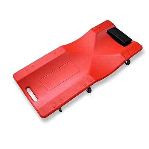 Aufun KFZ Werkstatt Rollliege Montagerollbrett Werkstattliege Kopfstütze mit 6 Lenkrollen, Ergonomisch Rollbrett Rollliege Montageliege Autorollliege