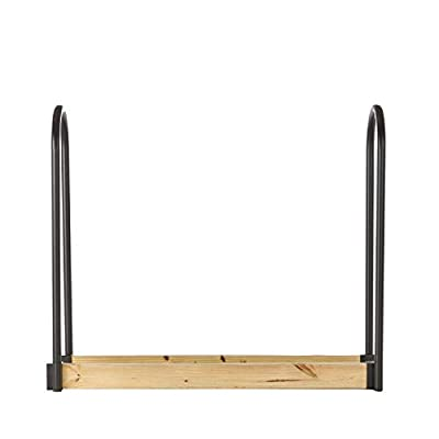 "Shelter SLRA Adjustable Length Firewood Storage Log Rack/Holder Kit, Powder Coated Heavy Duty 1.25"" Tubular Steel, Adj. L x 13"" D x 45"" H, Black"