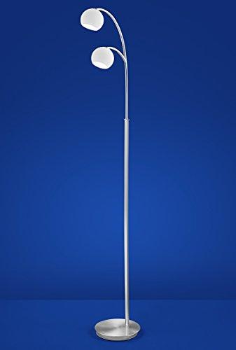 DUITSLAND LED vloerlamp nikkel mat dimmer 2 spots 950lm kristal