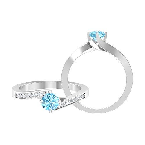 Anillo de diamante y aguamarina de 3/4 quilates, anillo de promesa para ella, anillo de derivación de oro (calidad AAA), 14K Oro blanco, Size:EU 63