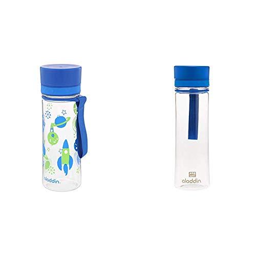 Aladdin Aveo Trinkflasche für Kids, aus Tritan-Kunststoff, 0.35 Liter, Blau, Auslaufsicher, Wasserflasche Fahrradflasche & Aveo Trinkflasche aus Tritan-Kunststoff, 0.35 Liter, Blau, Auslaufsicher