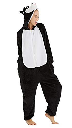 YULOONG Pijama para adultos, diseño de lobo Husky para Halloween, Navidad, fiesta, cosplay, disfraz para mujeres y hombres - - Small
