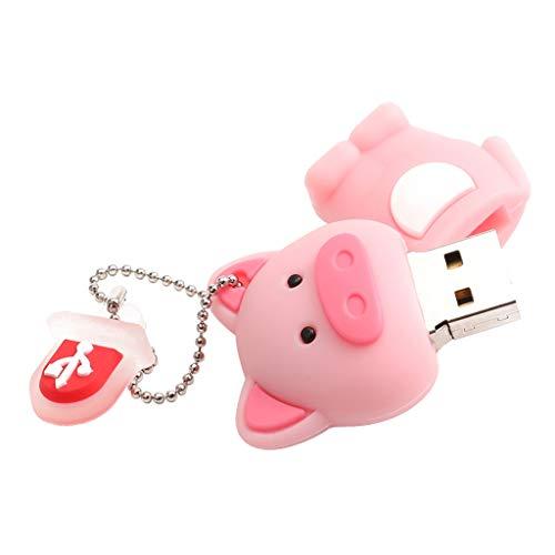 SDENSHI Mini Memory Stick USB 2.0 con Chiavetta USB A Forma di Maialino con Portachiavi - 32GB